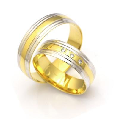 Złote obrączki ślubne z kamieniami