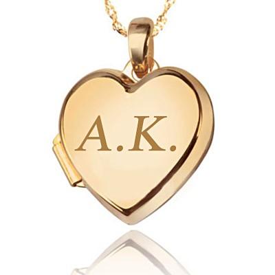 Złoty komplet zawieszka z łańcuszkiem serce puzderko