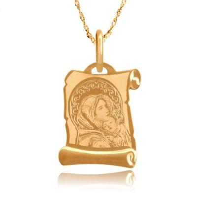 Gustowny złoty medalik z Matką Boską