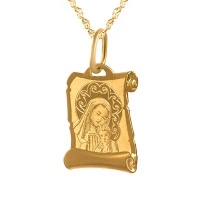 Śliczny złoty komplet Matka Boska z łańcuszkiem