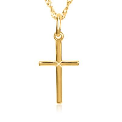 Złoty komplet krzyżyk łańcuszek prezent z grawerem