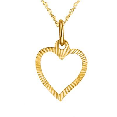 Złoty komplet serduszko złote z łańcuszkiem