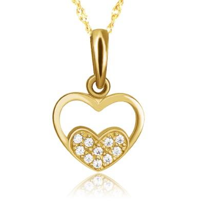 Złoty komplet podwójne serce z cyrkoniami i łańcuszek