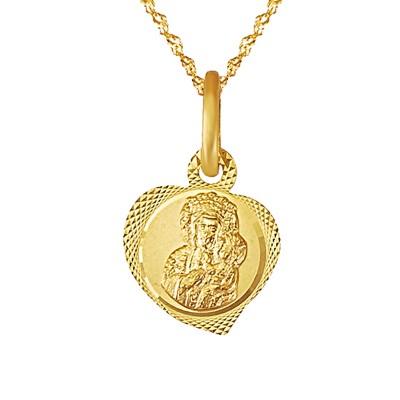 Uroczy diamentowany komplet medalik z łańcuszkiem