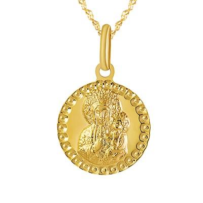 Złoty komplet medalik z wizerunkiem Matki Boskiej Częstochowskiej i łańcuszek Grawer GRATIS