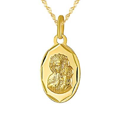 Złoty komplet łańcuszek z owalnym medalikiem Prezent Grawer GRATIS