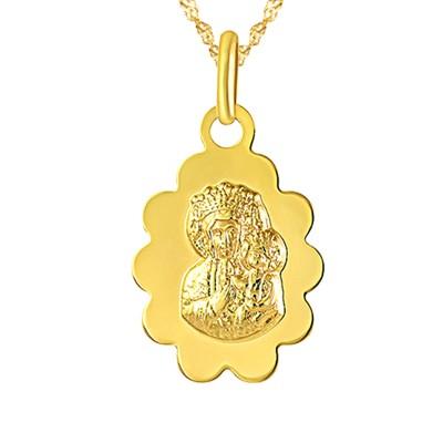 Złoty komplet łańcuszek z medalikiem Matka Boska Prezent Grawer GRATIS