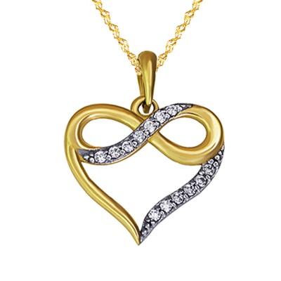 Złoty komplet serduszko ze znakiem nieskończoności i łańcuszek