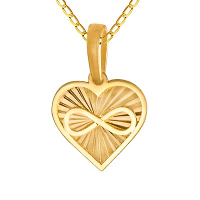 Złoty komplet niepowtarzane diamentowane serduszko ze znakiem nieskończoności łańcuszek Prezent Grawer GRATIS
