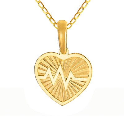 Złoty komplet diamentowane serduszko z linią życia łańcuszek