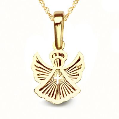 Złoty komplet urocza zawieszka aniołek łańcuszek Prezent Grawer GRATIS