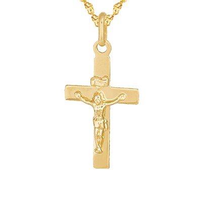Złoty komplet klasyczny krzyżyk z łańcuszkiem Prezent Grawer GRATIS