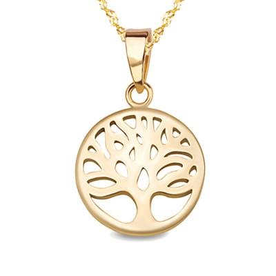 Złoty komplet zawieszka Drzewko Szczęścia z łańcuszkiem Prezent Grawer GRATIS
