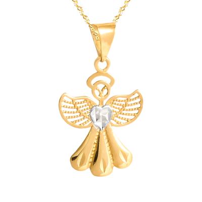 Złoty komplet Aniołek i łańcuszek
