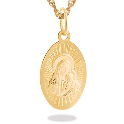 Złoty komplet medalik i łańcuszek