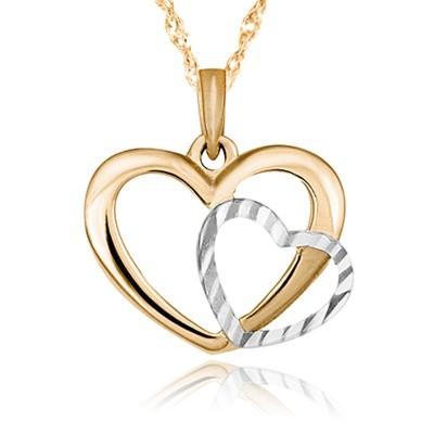 Złoty komplet serduszko z biało-żółtego złota łańcuszek