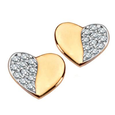Złote kolczyki serca z cyrkoniami