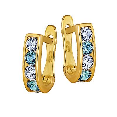 Klasyczne złote kolczyki dziecięce z niebieskimi kryształkami