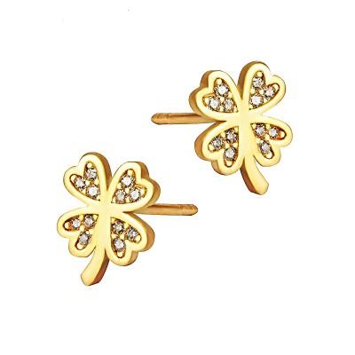Subtelne złote kolczyki koniczynki z cyrkoniami