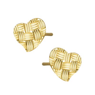 Złote kolczyki diamentowane Serduszka