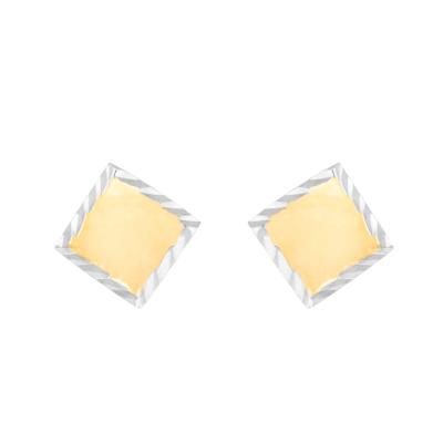 Złote kolczyki Romby z białym złotem