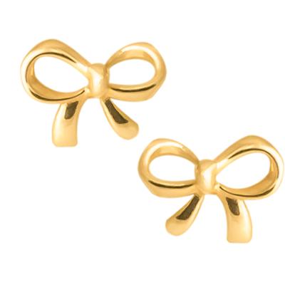 Złote kolczyki Kokardki