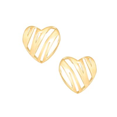 Złote kolczyki ażurowe serduszka