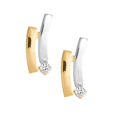 Złote kolczyki z białym złotem i cyrkonią