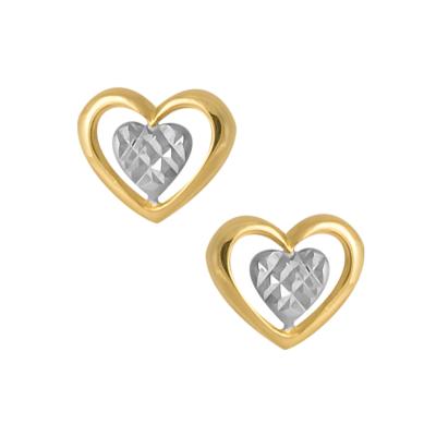 Złote kolczyki podwójne serduszko z białym złotem
