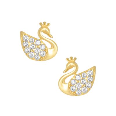 Złote kolczyki Łabędzie z cyrkoniami Grawer GRATIS