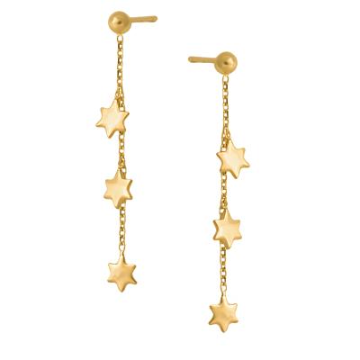 Złote kolczyki wiszące gwiazdki Grawer GRATIS