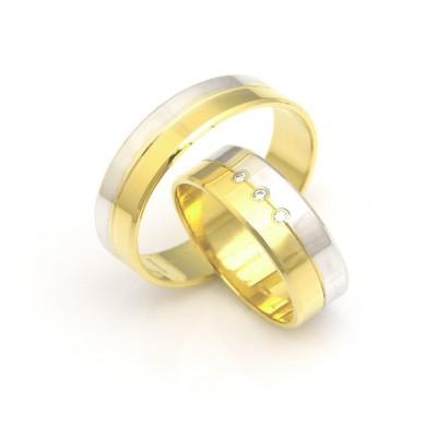 Obrączki ślubne z biało-żółtego złota