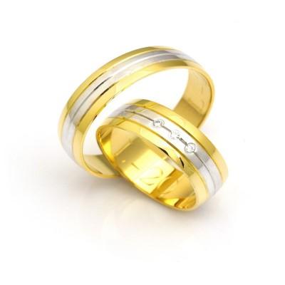 Obrączki ślubne biało- żółte w paski