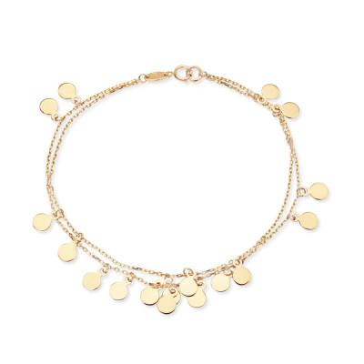 Złota bransoletka z wiszącymi zawieszkami