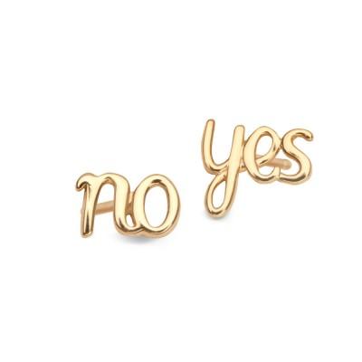 Złote kolczyki No Yes Prezent Grawer GRATIS