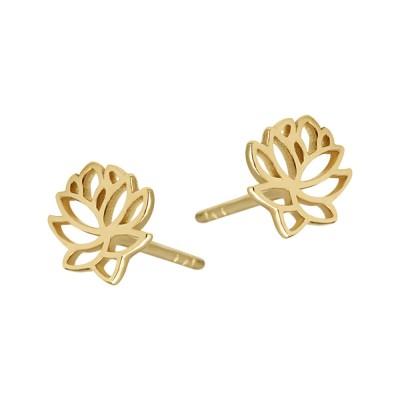 Złote kolczyki subtelny Kwiat Lotosu Grawer GRATIS