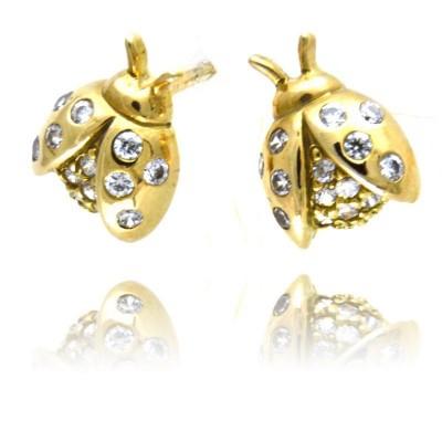 Złote kolczyki urocze biedronki