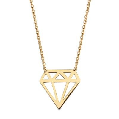Subtelny złoty naszyjnik geometrycznym diamencikiem