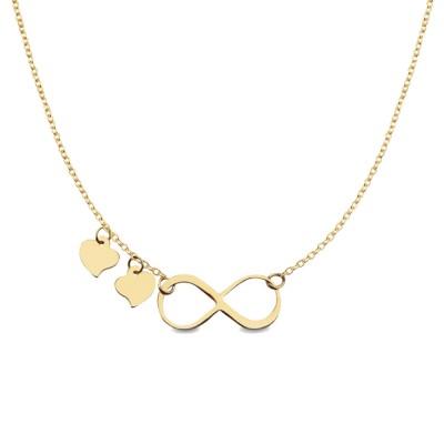 Złoty naszyjnik ze znakiem nieskończoności i serduszkami