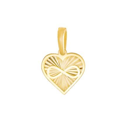 Złota zawieszka niepowtarzalne diamentowane serduszko ze znakiem nieskończoności Prezent Grawer GRATIS