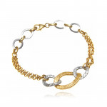 Stylowa dwukolorowa złota bransoleta