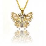 Złota dwukolorowa zawieszka w kształcie motyla