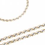 Złoty łańcuszek ozdobiony białym matowionym złotem Prezent Grawer GRATIS