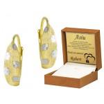 Subtelne złote kolczyki z białym złotem Prezent Grawer GRATIS