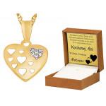 Czarujące złote serce 585 z łańcuszkiem grawer gratis