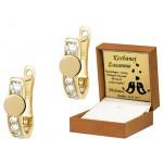Złote kolczyki z ozdobną blaszką Prezent Grawer GRATIS