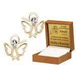 Złote kolczyki urocze Aniołki Prezent Grawer GRATIS