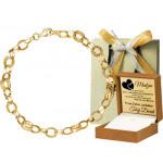 Złota bransoletka o grubych ażurowych ogniwach Prezent Grawer GRATIS