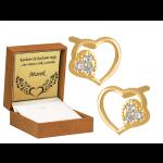 Złote kolczyki podwójne Serduszka
