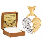 Złoty komplet łańcuszek z połyskującym sercem z kluczykiem